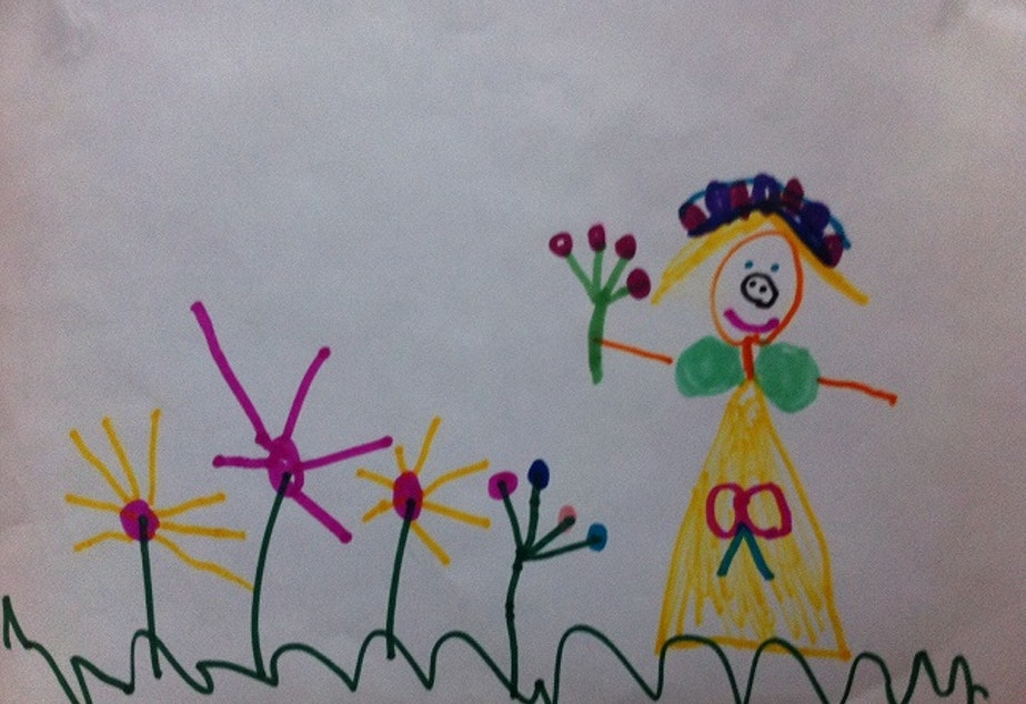 caption: A drawing by a child in Professor Kristina Olson's study at the University of Washington. Olson has found that transgender and non-trans girls have an equally deep sense of their gender identity.