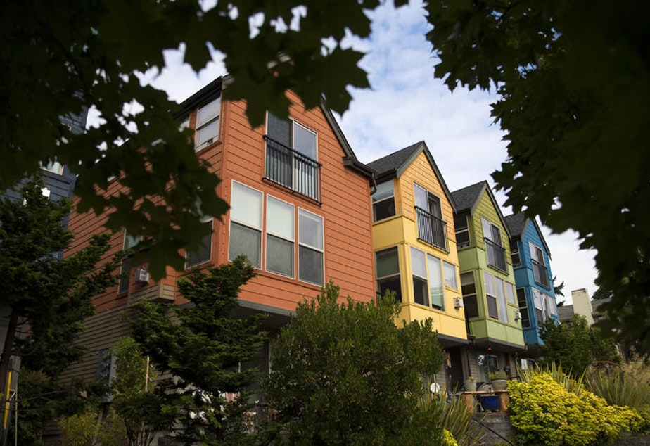 caption: Townhomes in Seattle's Wallingford neighborhood