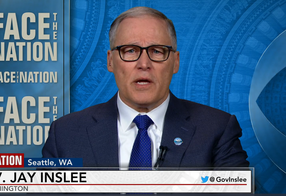 """caption: Gov. Jay Inslee appears on CBS program """"Face the Nation"""" on Sunday, March 8, 2020 to discuss social distancing measures that could be ahead for slowing the spread of coronavirus in Washington state."""