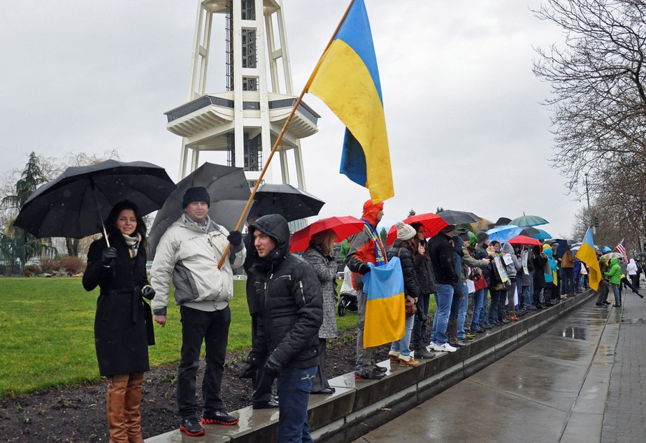 Protesters at Seattle Center demonstrate against the tension between Russia and Ukraine this spring.