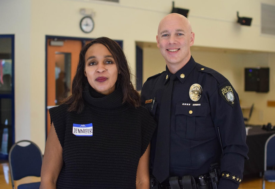 caption: Jennifer and Carl at KUOW's Ask a Cop event