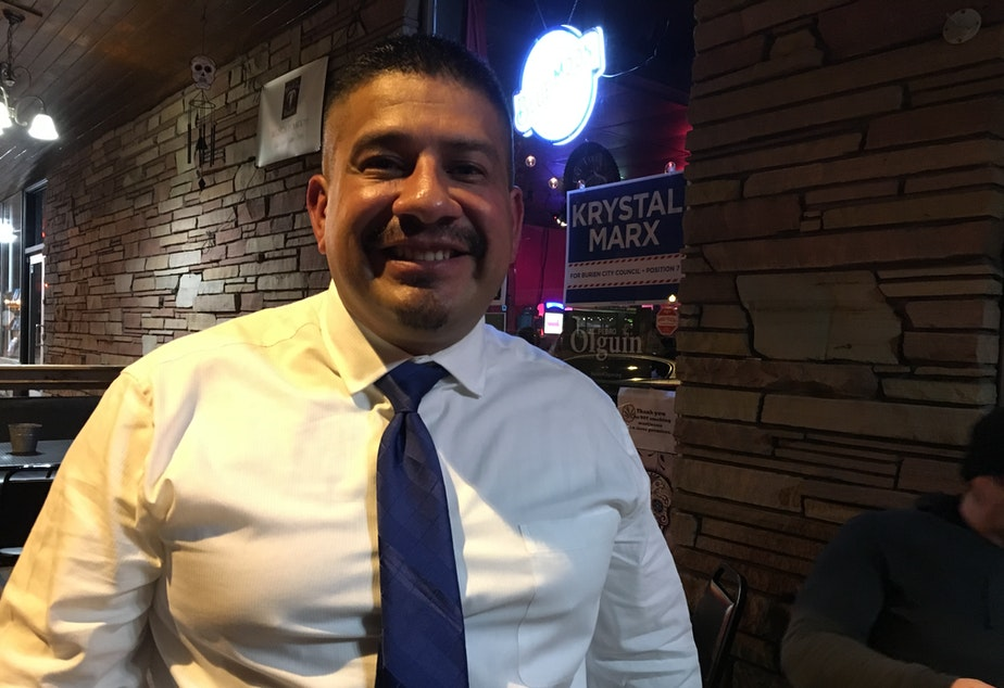 caption: Burien Mayor Jimmy Matta on election night 2017, when he first was elected to City Council.