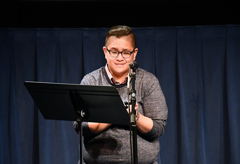Erica Hilario performs her story 'Twinkle Twinkle Little Star' at KUOW's Stories from the Wild event on Friday, October 11, 2019 at McCaw Hall in Seattle.