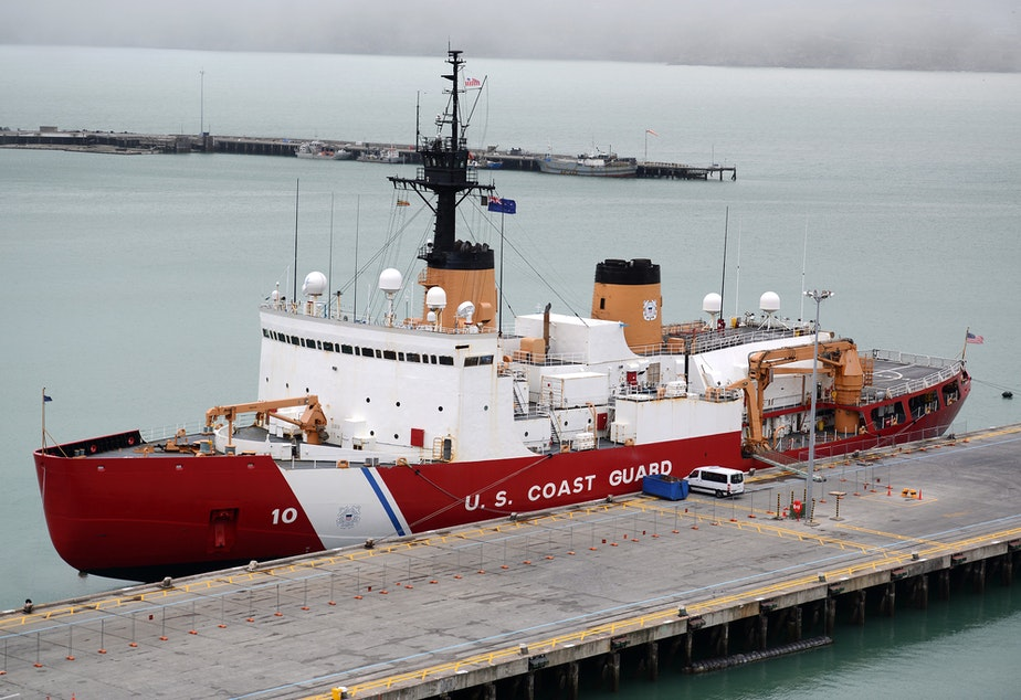 caption: The Coast Guard Cutter Polar Star sits moored in Lyttelton Harbor during a port call to, Christchurch, New Zealand, Feb. 18, 2017. The Polar Star crew stopped in New Zealand after completing a month-long icebreaking mission to Antarctica.