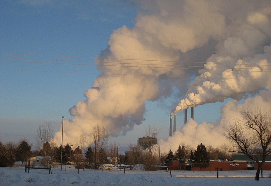 caption: The coal-fired Colstrip power plant in eastern Montana.