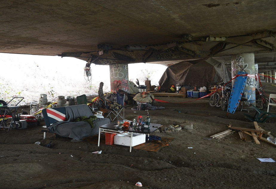 The Jungle, the morning after five people were shot at the homeless encampment in January.