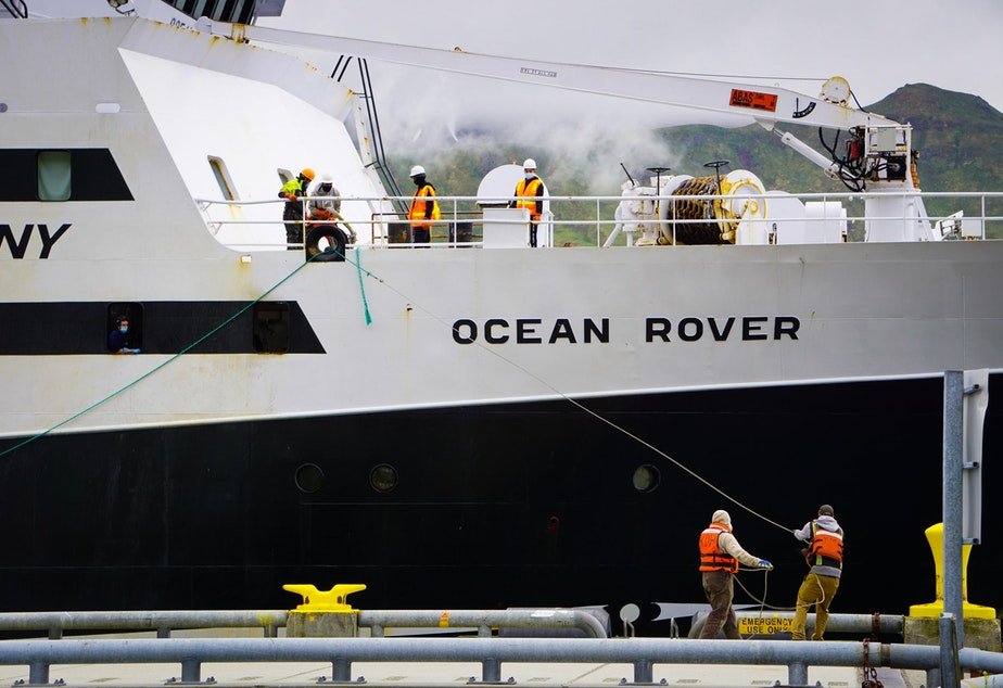 caption: American Seafoods' Ocean Rover arrives in Unalaska, Alaska, on June 14.