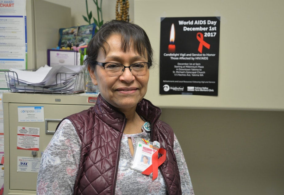 Angeles Pulido has been a nurse for 18 years, inspired to get trained and work with HIV/AIDS patients in Yakima after reading a Time magazine article. CREDIT: ESMY JIMENEZ/NWPB