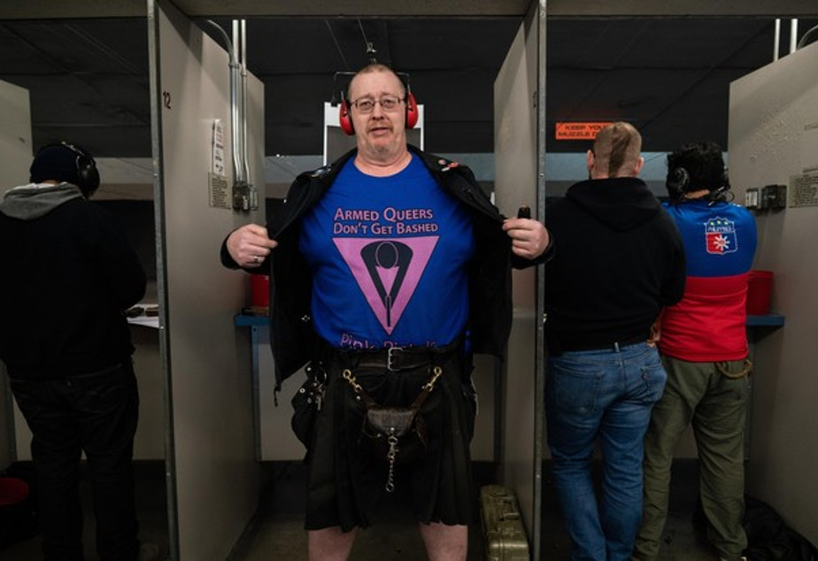 <p>L.A. Watson-Haley shows off his new T-shirt at The Liberal Gun Club's winter range day on Jan. 26, 2019 in Portland, Ore.</p>