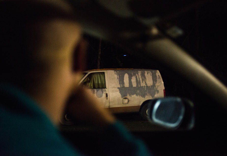 caption: One Night Count Team Lead Daniel Hubbell spots a van that volunteers reported as occupied while driving down a deserted side streets in one of the last stops of the night. Click on this image to see the slideshow.