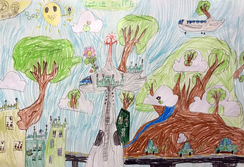 caption: Jane, 7, drew this version of a climate-friendly Seattle for a KUOW drawing contest.