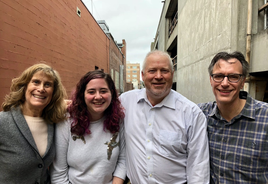 Joni Balter, Rachel Lerman, Mike McGinn and Bill Radke at KUOW.