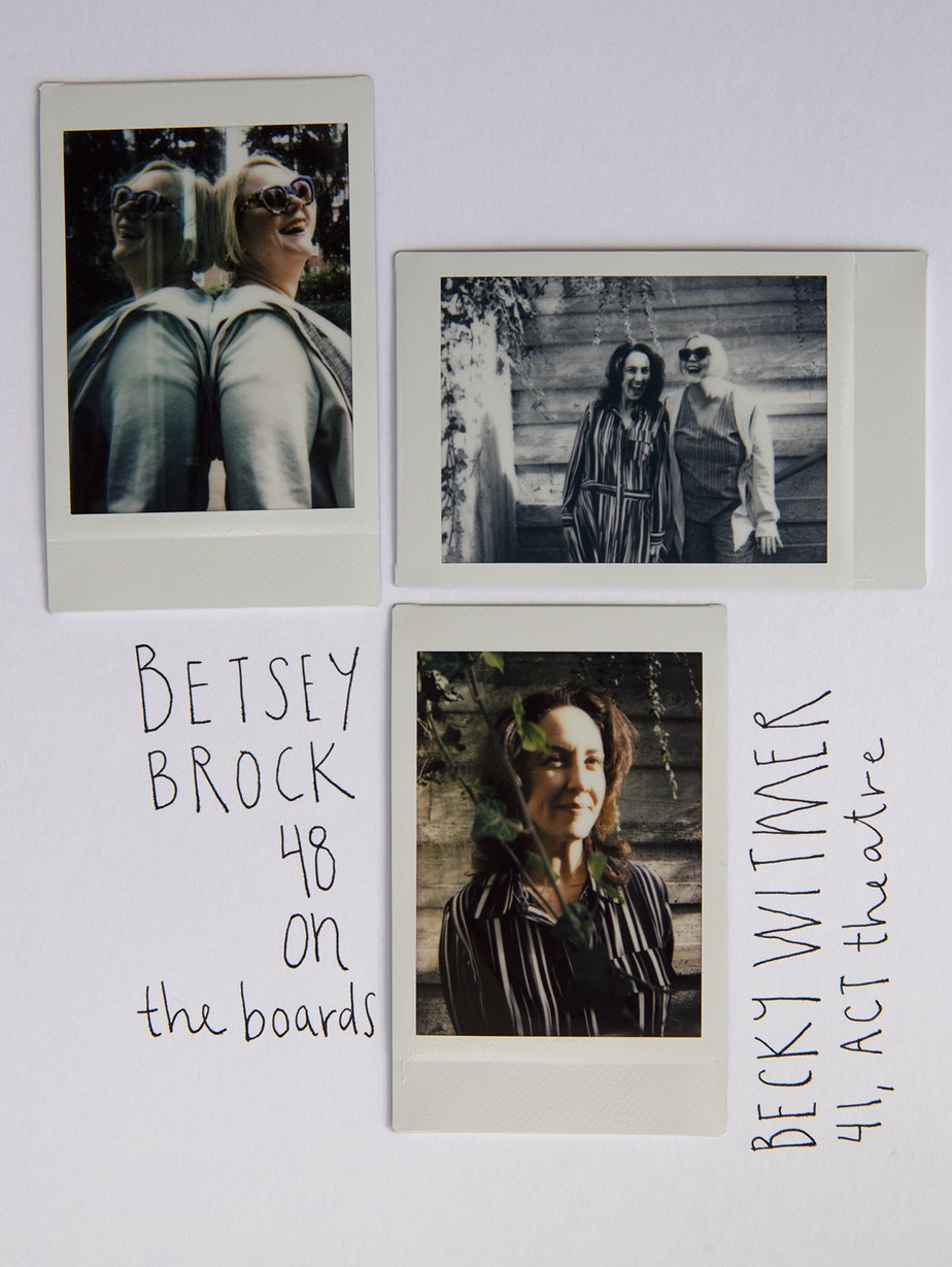 Betsey Brock and Becky Witmer pose for portraits at Freeway Park in Seattle.