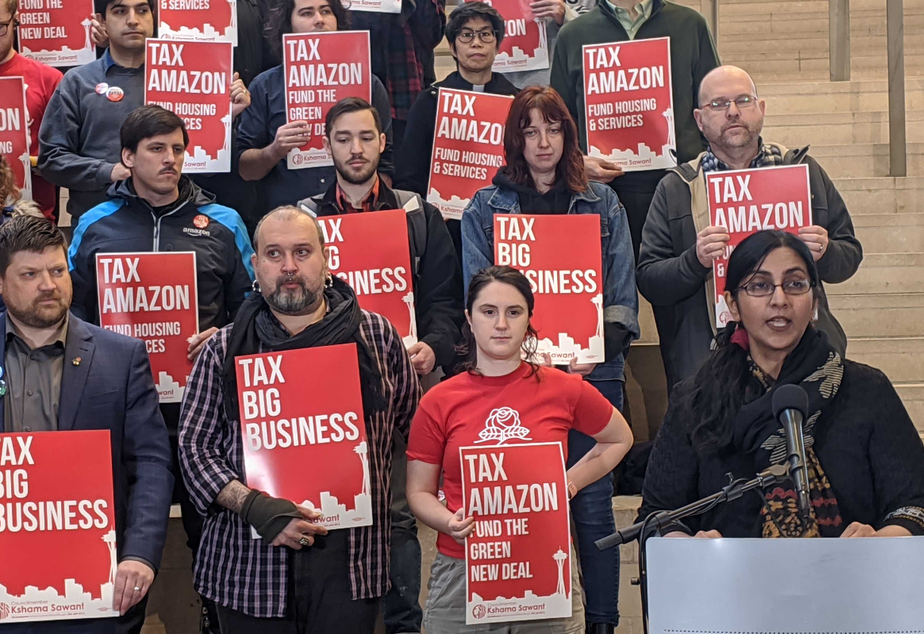 caption: Seattle Councilmember Kshama Sawant announces a new proposal to tax Amazon and other large companies in Seattle, Feb. 12, 2020.