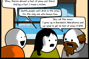 The Oatmeal: Every time it snows in a big city, everyone has the exact same conversation.