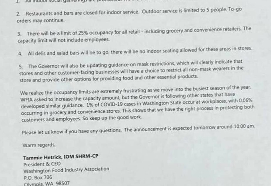caption: An email sent to members of the Washington Food Industry Association outlined restrictions that Gov. Jay Inslee is expected to announce on Sunday.