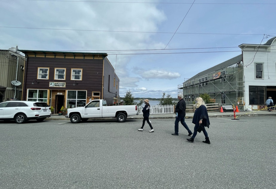 caption: Tourists on Front Street in Coupeville