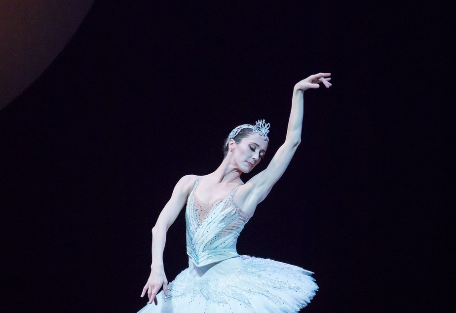 Pacific Northwest Ballet principal dancer Sarah Orza in the lead role in the 2018 production of Swan Lake