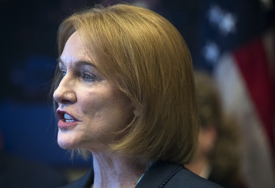 Seattle mayor Jenny Durkan speaks during a press conference on December 4, 2017, at Seattle City Hall.