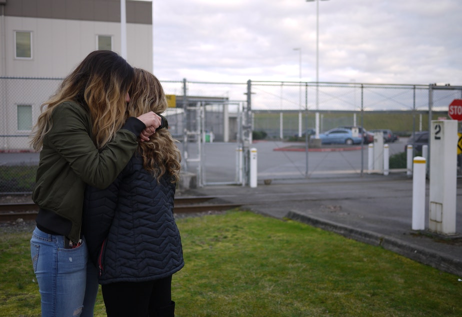 Ruby and Brenda Amezquita outside the Northwest Detention Center in Tacoma.