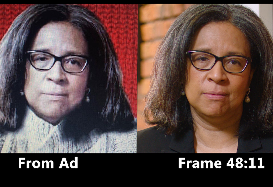 caption: Before and after picture of a 2020 attack ad that targets Democrat Marilyn Strickland