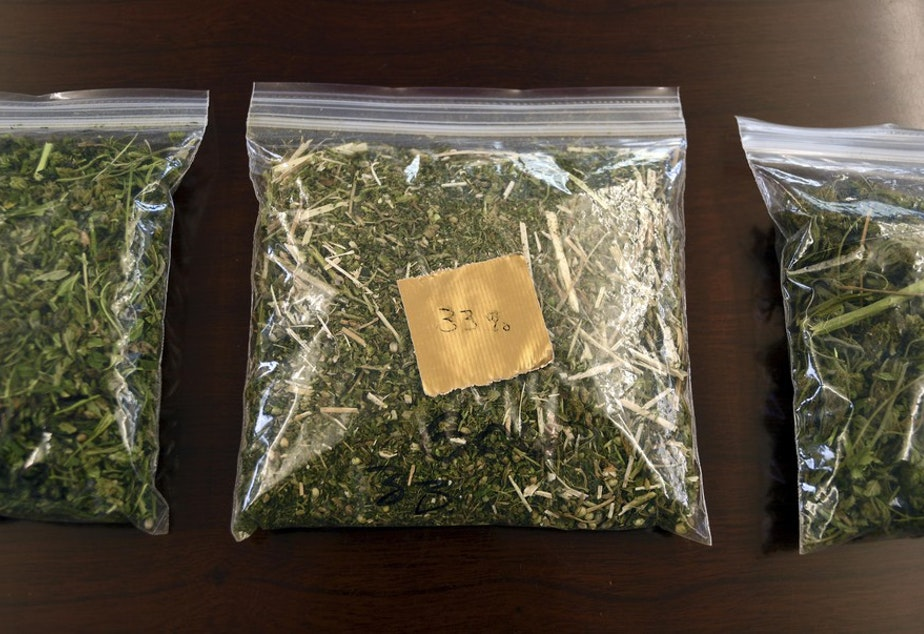 Samples of hemp sit on a table in the conference room at Andrew Ross' office in Denver on Friday, March 22, 2019. Ross, a Marine who served in Afghanistan and Iraq, is facing 18 years to life in Oklahoma if he is convicted after he was arrested in January while providing security for a load of state-certified hemp from Kentucky. Federal legalization for hemp has created a quandary for police as authorities lack the technology to distinguish marijuana from agricultural hemp at a roadside stop. CREDIT: THOMAS