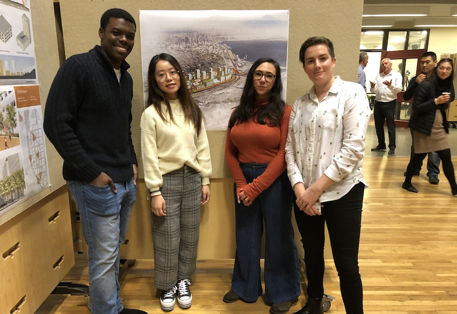 caption: UW Students Innocent Muhalia, Sarah Feng, Lauren Homer, and Margot Turek comprise one of several teams that explored big ideas for Seattle's new neighborhood in Interbay.