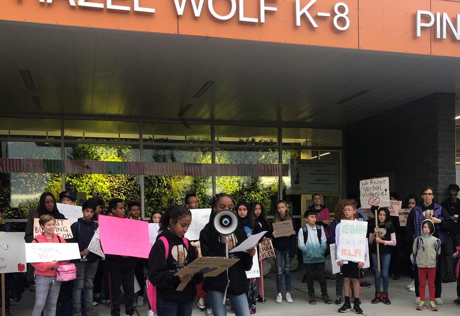 Students and parents protest administration response to racial slurs at north Seattle school