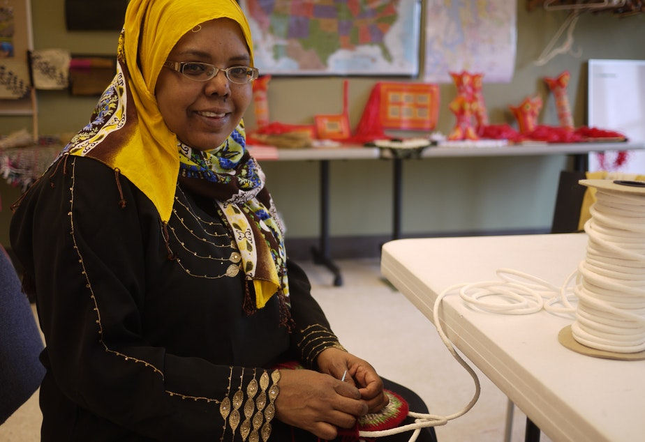 caption: Farhiya Mohamed was 19 years old when her family came to the U.S. from Somalia as refugees.