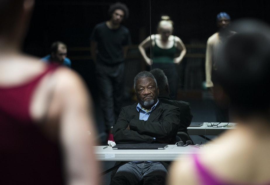 Dancers listen to Donald Byrd during rehearsal on Monday, September 17, 2018, at Spectrum Dance Theater in Seattle.