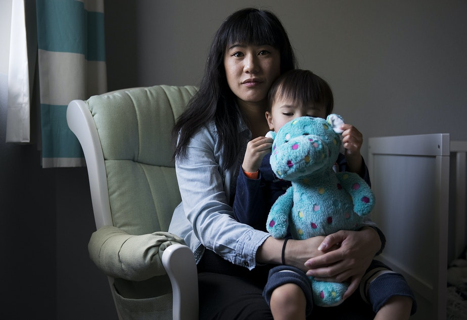 """caption: Patty Liu with son Everett, 2. """"My brain wasn't there. I consider myself a pretty intellectual person and I love math. I love numbers and I couldn't even do simple addition anymore. So I was just like huh, okay, I guess this is my new normal. But I just couldn't find my groove. I didn't look for help because I didn't know that this was abnormal."""""""