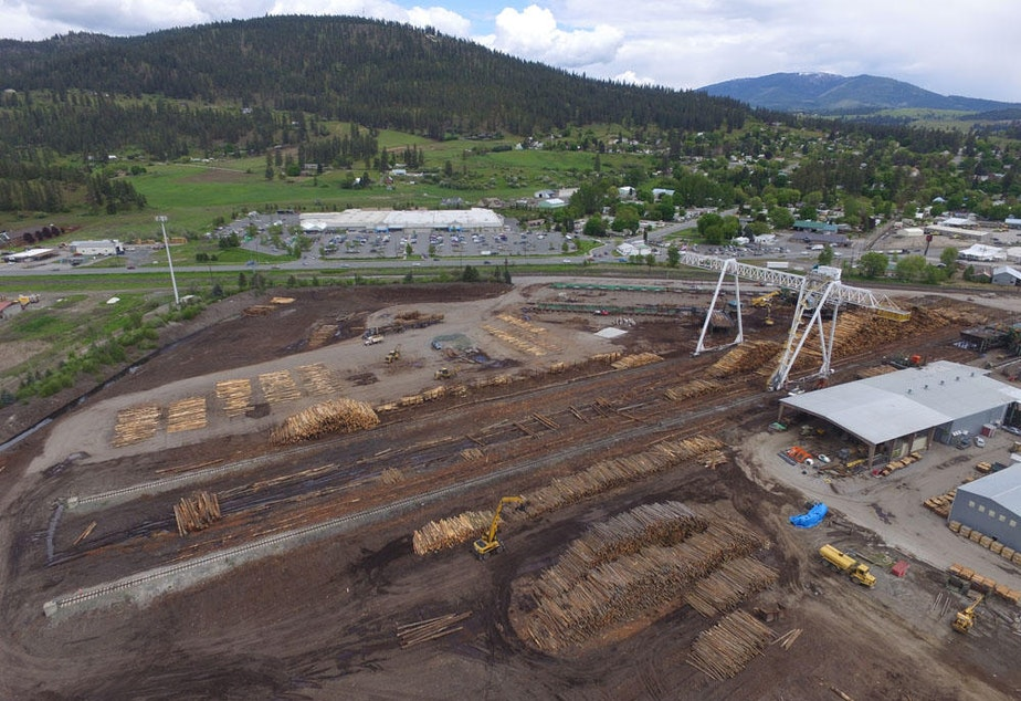 caption: The Vaagen Brothers Lumber mill in Colville, Washington is surrounded by the Selkirk Mountain foothills, and the potential 'A-Z Project' timber. Courtesy Josh Anderson/Vaagen Bros.