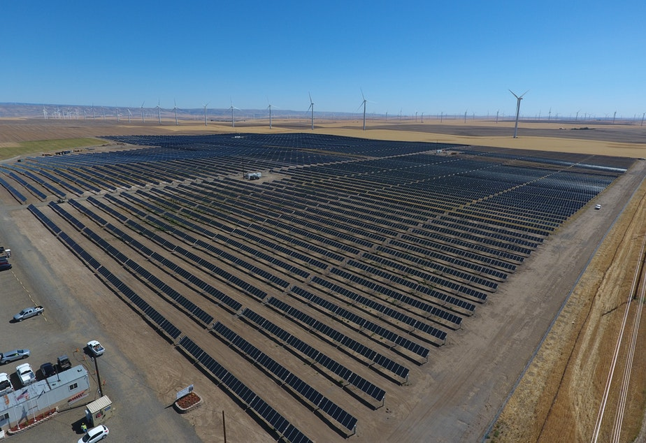 The new Avangrid Renewables solar farm in Klickitat County, Washington, will rise across the Columbia River from the smaller Wy'East Solar Project, shown here in Sherman County, Oregon.