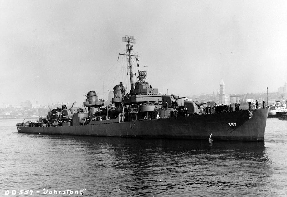 caption: USS Johnston (DD-557) off Seattle or Tacoma, Washington, 27 October 1943.