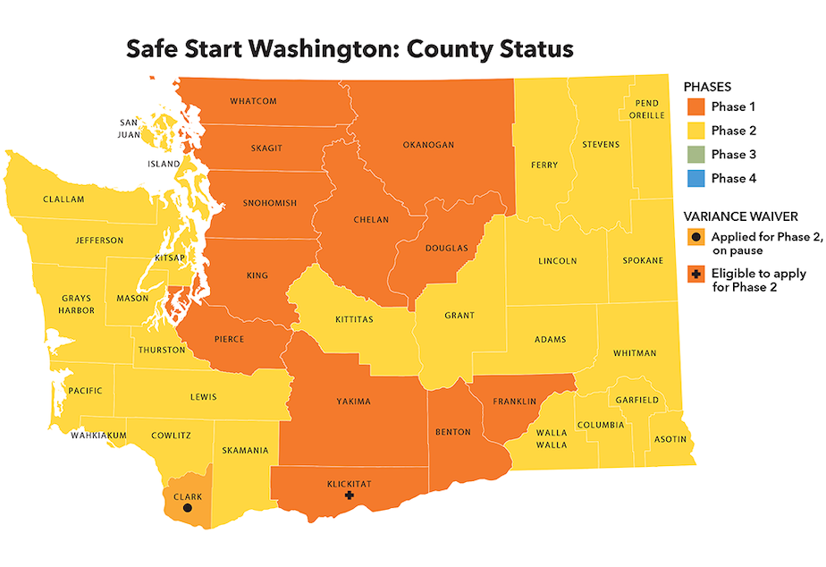 caption: Phases of Washington counties as of May 29, 2020. The state has a four phase plan to reopen its economy as it continues to experience the Covid-19 pandemic.
