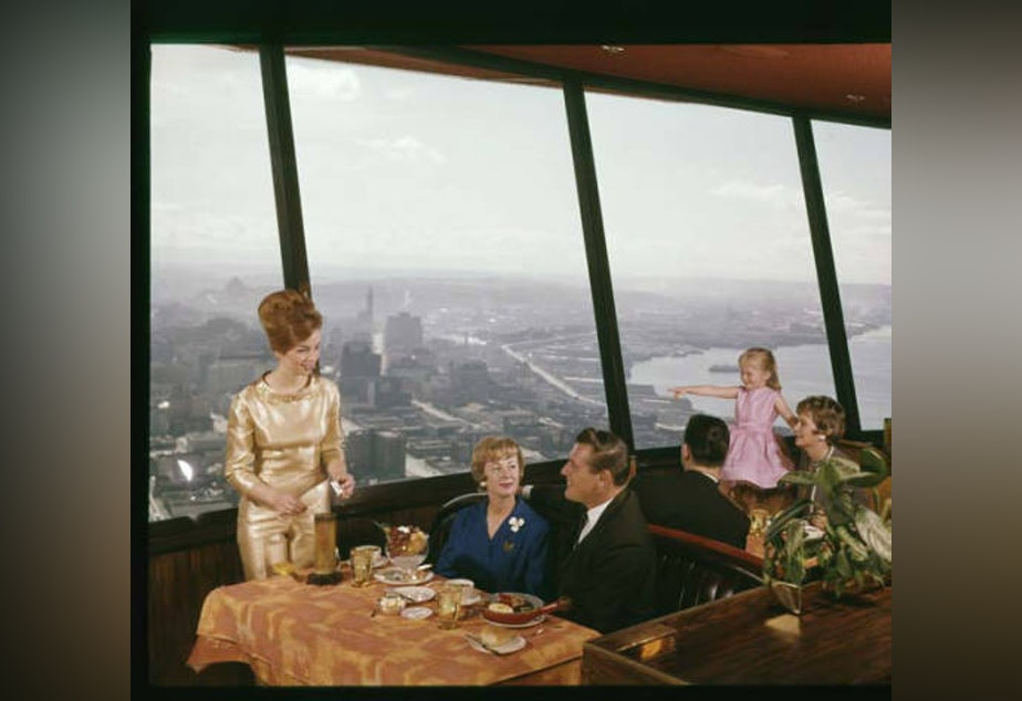 Diners at the Eye of the Needle restaurant at the top of the Space Needle, Seattle World's Fair, 1962