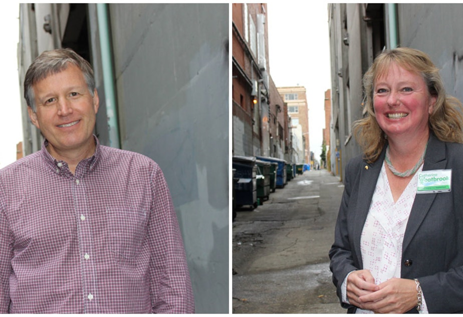 caption: Seattle City Council District 6 candidates Mike O'Brien and Catherine Weatbrook.
