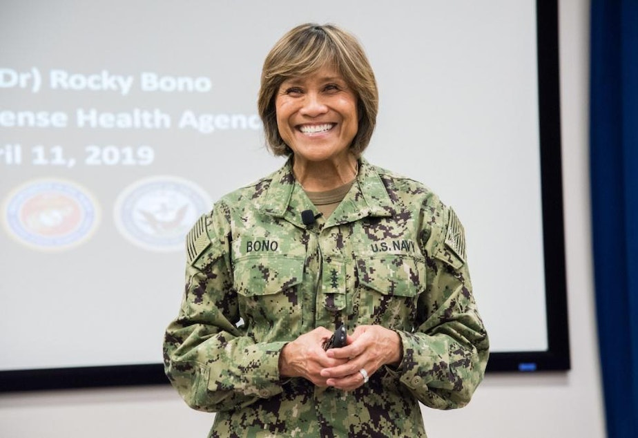 caption: Retired Vice Admiral Raquel Bono came to Olympia in mid-March to fill the newly-created position of COVID-19 health systems response coordinator.