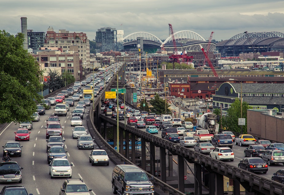 Traffic on Seattle's Alaskan Way Viaduct, in bygone days.