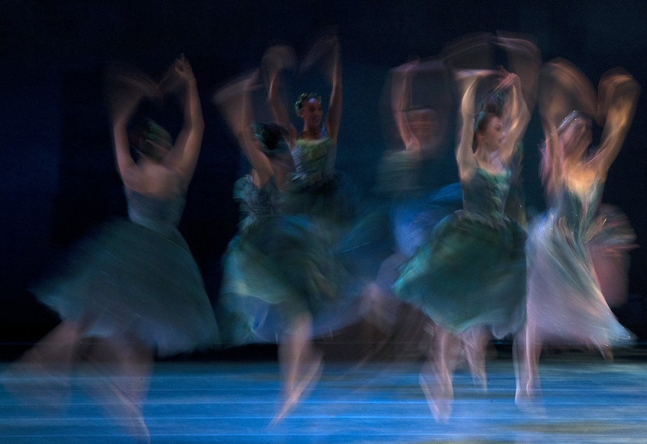 caption: Dancers perform during a dress rehearsal for the Pacific Northwest Ballet's Cinderella on Thursday, January 30, 2020, at McCaw Hall in Seattle. Dancers filled 110 different roles in the performance choreographed by Kent Stowell.