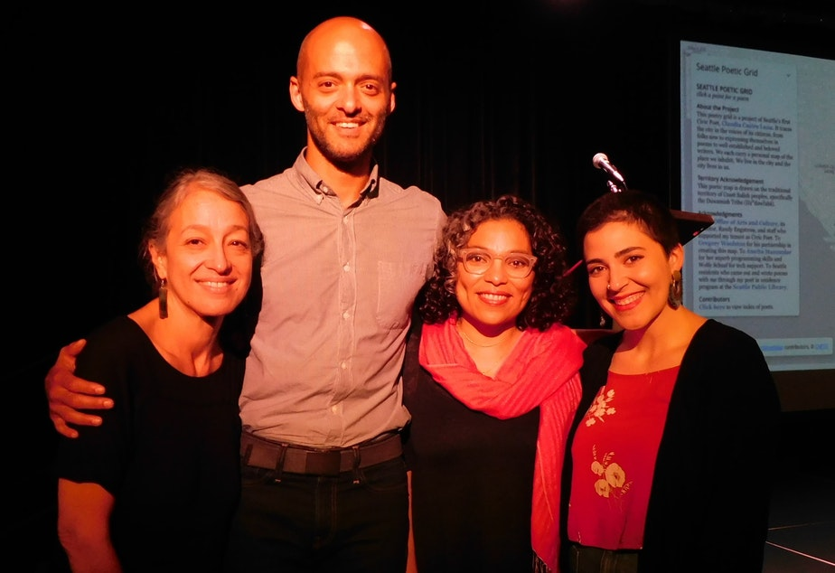 caption: Readers at Short Stories Live event. L to R: Fern Renville, Brandon Simmons, Claudia Castro Luna and Sophie Franco.