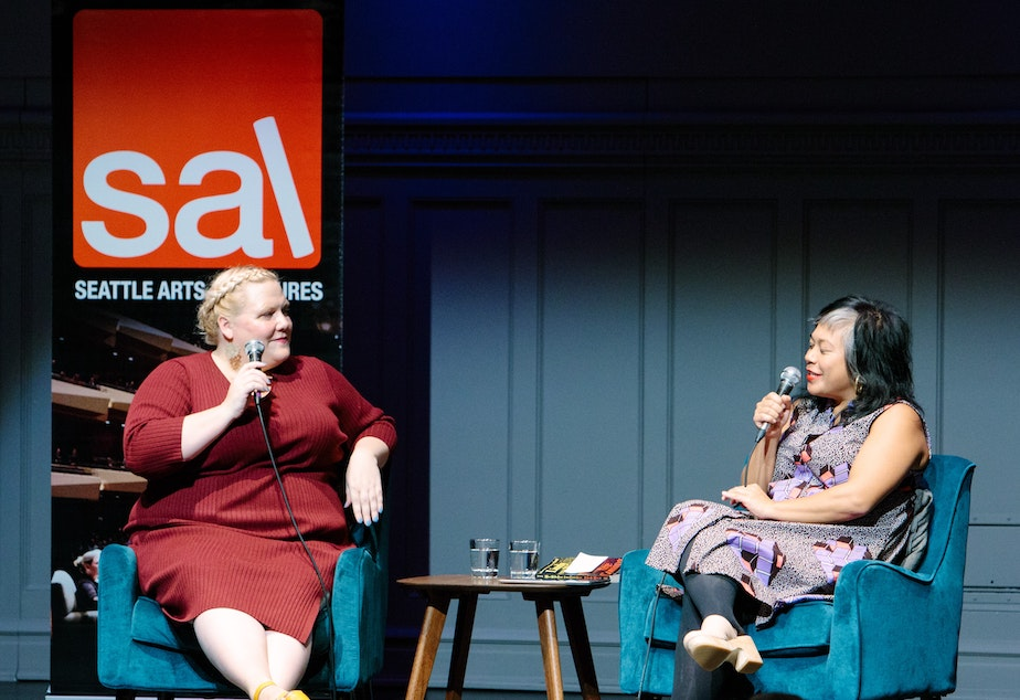 caption: Lindy West and Angela Garbes at Town Hall Seattle