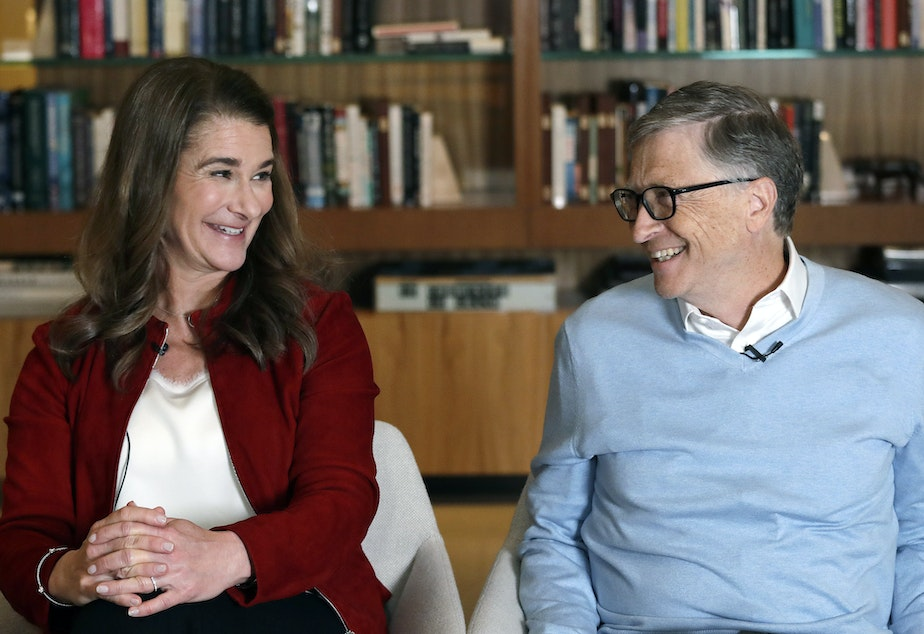caption: Bill and Melinda Gates smile at each other during an interview in Kirkland, Wash. in 2019. The couple announced Monday, May 3, 2021, that they are divorcing.