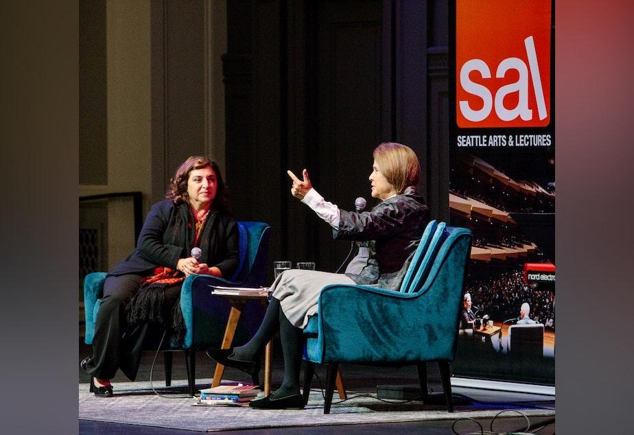 caption: Left to right: Lena Khalaf Tuffaha and Naomi Shihab Nye at Town Hall Seattl