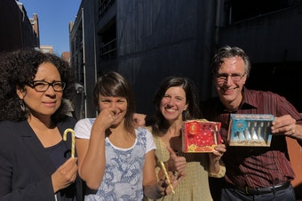 Marilyn Strickland, Monica Guzman, Jessyn Farrell and Bill Radke [L-R]