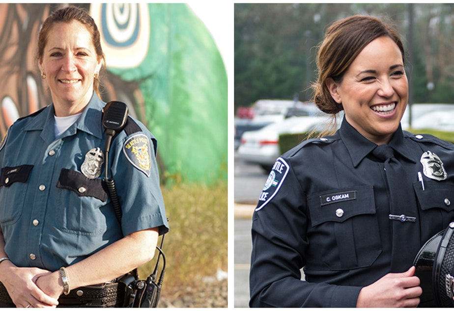Seattle Police officers in the old uniform (left) and newly redesigned uniform (right).