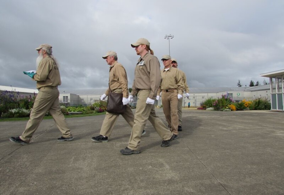 caption: Color Guard: Michael Jefferies (front), James Bell, Randy Roth, Chadwick Kallebaugh, Andrew Wood (closest to camera).Stafford Creek Corrections Center in Aberdeen, Washington.