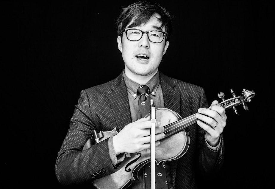 caption: Joe Kye, Portland, Oregon-based musician, storyteller, and guest co-host for Speakers Forum's special On Asian America episode.