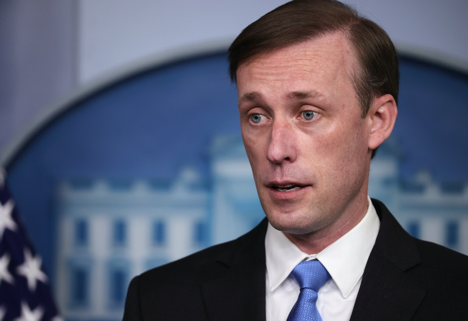caption: White House national security adviser Jake Sullivan, seen here during a press briefing on Feb. 4, told CBS the World Health Organization has more work to do to get to the bottom of where the coronavirus emerged.