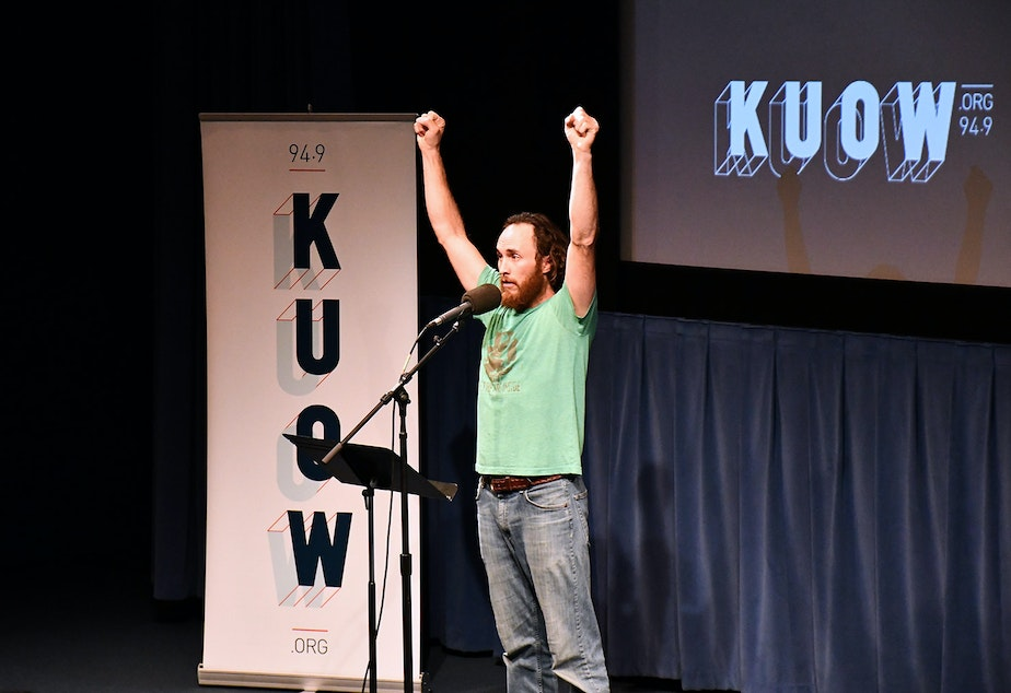 Monte Montepare performs his story at KUOW's Stories from the Wild event on Friday, October 11, 2019 at McCaw Hall in Seattle.